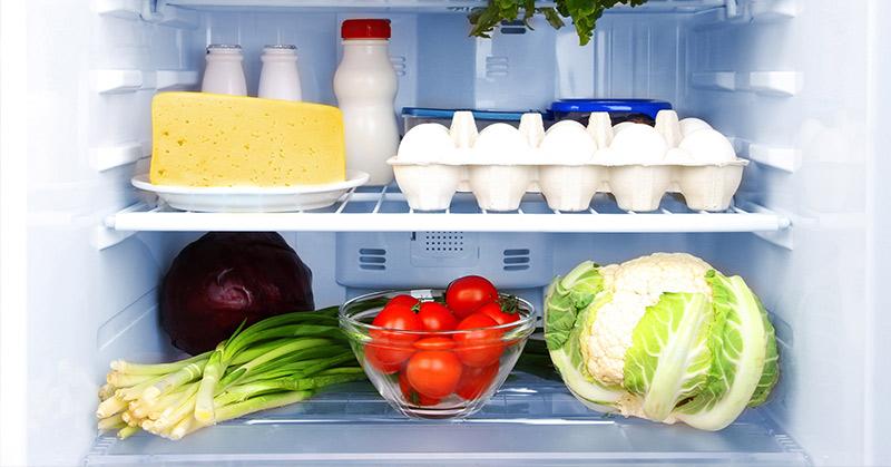 refrigerator with fresh produce
