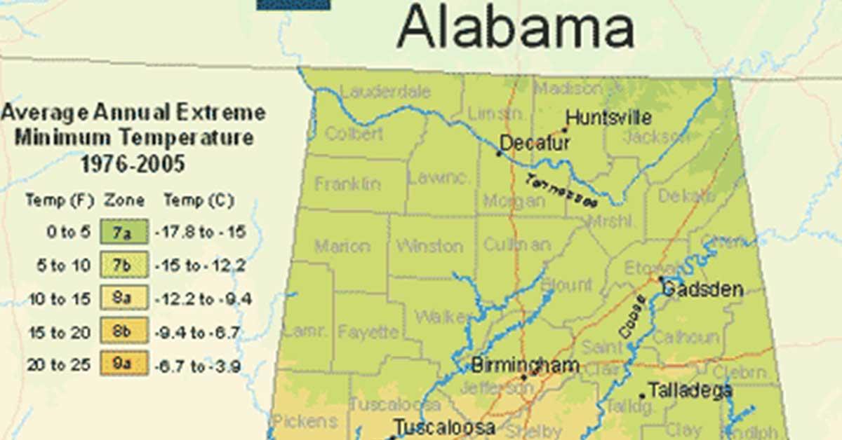 USDA hardiness zone map for Alabama