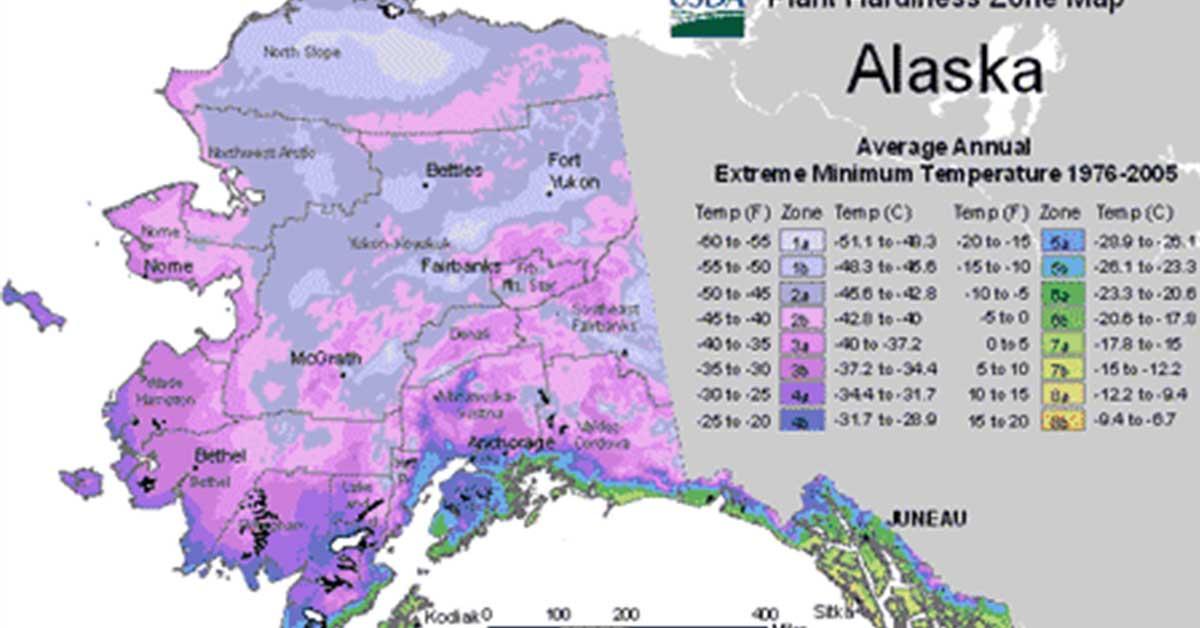 USDA Hardiness Zone Map for Alaska