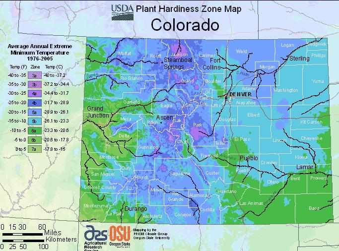 USDA Hardiness Zone Map for Colorado
