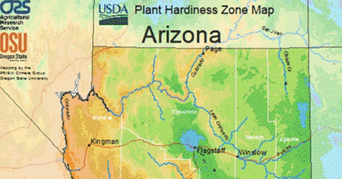 arizona usda hardiness zone map
